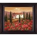 Hand Painted in.Tuscan Villa with Red Poppiesin. Framed Artwork, 26x30