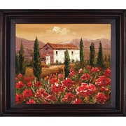 Hand Painted Tuscan Villa with Red Poppies Framed Artwork, 26x30