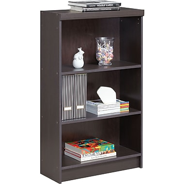 Akada Home 3-Shelf Bookcase with Moulding, Java Brown