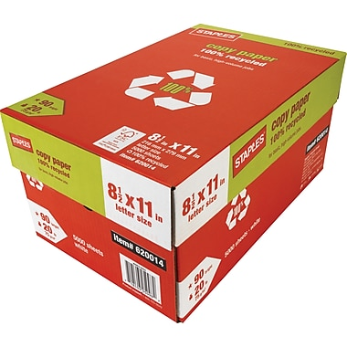 Staples® 100% Recycled Copy Paper, 8 1/2in. x 11in., Case