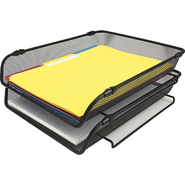 staples black wire mesh stackable letter tray