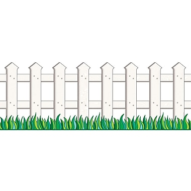 Scholastic 9780439654913 8.5in. x 12' Straight Picket Fence Jumbo Border, White