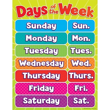Scholastic Early Learning, Days of the Week Chart