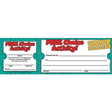 Scholastic Free Choice Activity Ticket Awards