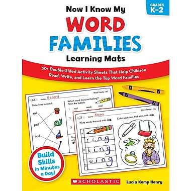 Scholastic Now I Know My Word Families Learning Mats