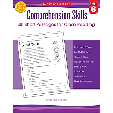 Scholastic Comprehension Skills: Short Passages for Close Reading: Grade 6