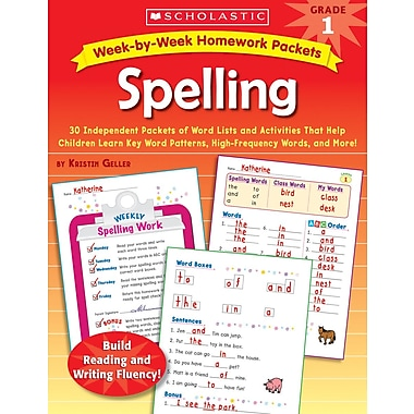 Scholastic Week-by-Week Homework Packets: Spelling: Grade 1