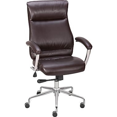 Staples Strobelle Bonded Leather Mid-Back Chair, Brown