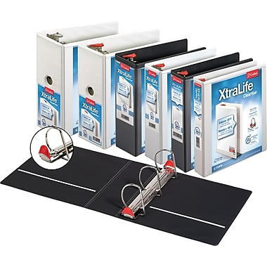Cardinal® XtraLife ClearVue Locking D-Ring Binder, White, 2""