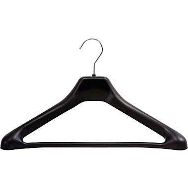 Safco® One Piece Versatile Plastic Hanger With Chrome Hook, Black Hanger, Silver Hook, 24/carton