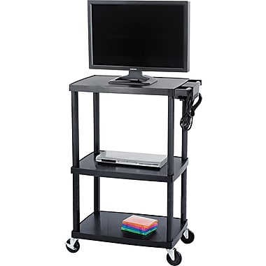 Safco® 55 1/2in.H x 39 1/2in.W x 24in.D Mobile AV Adjustable TV Cart, Black