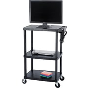 Safco® 55 1/2H x 39 1/2W x 24D Mobile AV Adjustable TV Cart, Black