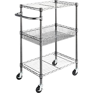 Alera® 26in.D Wire Shelving Three-Tier Rolling Cart, Black Anthracite