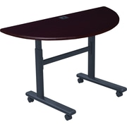 "Balt 45""H x 48""W x 24""D Half-Round 28 1/2"" Height-Adjustable Sit-Stand Flip-Top Mahogany Training Table (90326)"