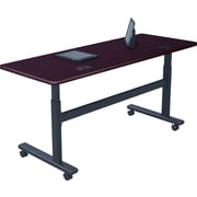 "Balt 28 1/2"" to 45""H x 60""W x 24""D Rectangular Height-Adjustable Sit-Stand Flip-Top Training Table Mahogany (90327)"
