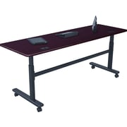 "Balt Sit-Stand Flip-Top 28 1/2""-45""H x 72""W x 24""D Height-Adjustable Rectangular Training Table, Mahogany (90328)"