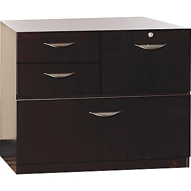 Mayline® Mira 19in.D 4 Drawer Veneer Multipurpose Storage Unit, Espresso