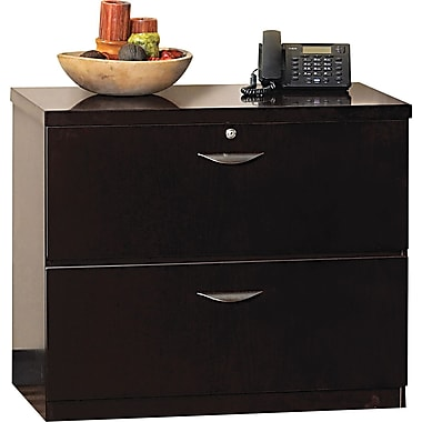 Mayline® Mira 24in.D 2 Drawer Wood Veneer Lateral File, Espresso