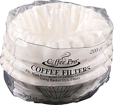Coffee Pro Basket Shape Paper Coffee Filter for Drip Coffee Makers, 10 - 12 Cup, White, 200/Pack OGFCPF200
