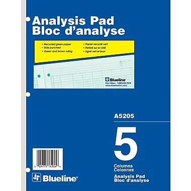 Blueline® Analysis Pad, A5205, 5 Columns