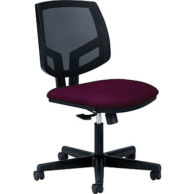 Hon Volt Series Armless Task Chair, Mesh Back, Pneumatic, Adjustable Height Footring, Crimson