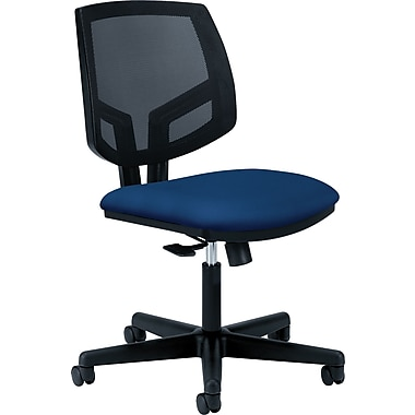 Hon Volt Series Armless Task Chair, Mesh Back, Pneumatic, Adjustable Height Footring, Navy