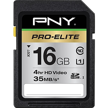PNY Pro-Elite 16GB SD (SDHC) Class 10 Flash Memory Card
