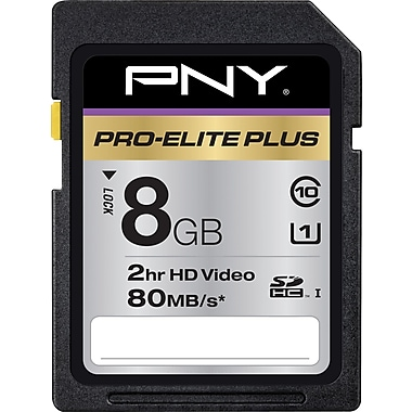 PNY Pro-Elite Plus 8GB SD (SDHC) Class 10 Flash Memory Card