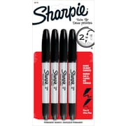 Sharpie® Twin Tip Permanent Markers, Fine-Point and Ultra-Fine Point, Black, 4/pk (32175)