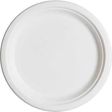 Eco-Products® Compostable Round Sugarcane Plate, 10in.(Dia), Natural White, 50/Pack