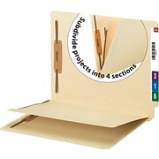 Smead End Tab Fastener File Folder with Divider, 2 Fasteners, Reinforced Straight-Cut Tab, 1 Divider, Letter Size, Manila, 50 pe