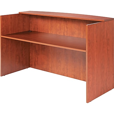 Alera Valencia Reception Desk With Transaction Counter, 42 1/2in.H x 71in.W, Medium Cherry