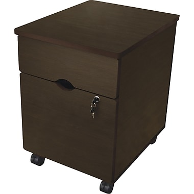 Linea Italia  20 3/4in.D 2 Drawer Trento Line Mobile Pedestal File, Mocha