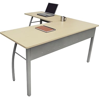 Linea Italia ® Steel Base Trento Line L-Shaped Desk, 29 1/2in.H x 59 1/8in.W, Oatmeal/Gray