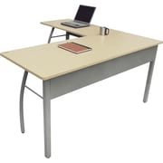 Linea Italia ® Steel Base Trento Line L-Shaped Desk, 29 1/2H x 59 1/8W, Oatmeal/Gray