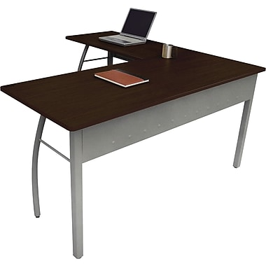Linea Italia ® Steel Base Trento Line L-Shaped Desk, 29 1/2in.H x 59 1/8in.W, Mocha