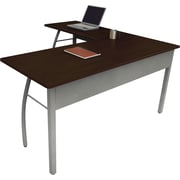 Linea Italia ® Steel Base Trento Line L-Shaped Desk, 29 1/2H x 59 1/8W, Mocha/Gray