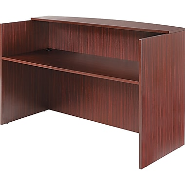 Alera Valencia Reception Desk With Transaction Counter, 42 1/2in.H x 71in.W, Mahogany