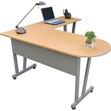 Linea Italia ® Massima Line L-Shaped Desk, 29 1/2in.H x 59 1/8in.W x 59in. - 59 1/8in.D, Honey