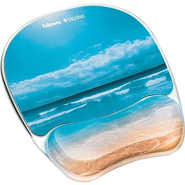Fellowes ® Antimicrobial Photo Gel Mouse Pad With Wrist Rest, Sandy Beach