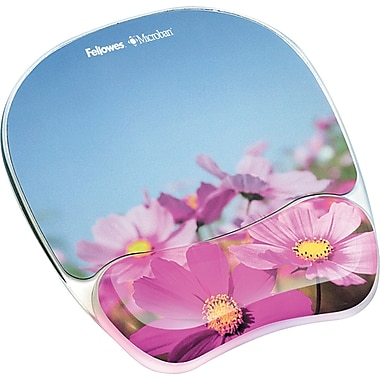Fellowes® Photo Gel Mouse Pad With Wrist Rest, Pink Flowers, 0.88in.(D)