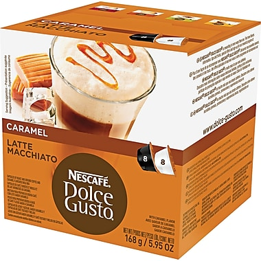 Nescafe Dolce Gusto Coffee Capsules, Caramel Latte Macchiato, 1.93 oz., 16/Box