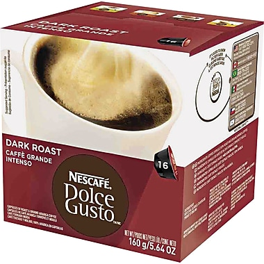 Nescafe Dolce Gusto Coffee Capsules, Dark Roast, 1.85 oz., 16/Box
