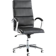Alera® Neratoli High Back Slim Profile Soft-Touch Leather Chair, Black