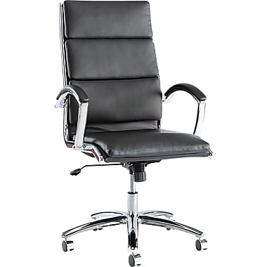 Alera ALENR4119 Neratoli Leather High-Back Executive Chair with Fixed Arms, Black