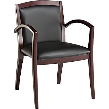Alera® Reception Lounge Soft-Touch Leather Guest Chair, Black, 19in. Seat Height