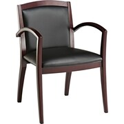 Alera® Reception Lounge Soft-Touch Leather Guest Chair, Black, 19 Seat Height