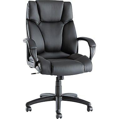 Alera ALEFZ41LS10B Fraze Leather High-Back Executive Chair with Fixed Arms, Black