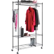 Alera® Wire Shelving Stand Alone Garment Rack, Black