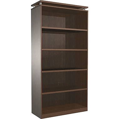 Alera® 5-Shelf SedinaAG Series Woodgrain Laminate Bookcase, Espresso